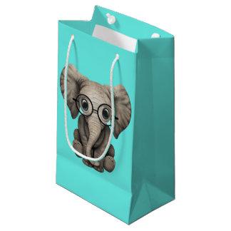 Sacola Para Presentes Pequena Elefante Nerdy do bebê que veste vidros