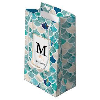 Sacola Para Presentes Pequena Escalas de peixes da sereia do mármore de turquesa