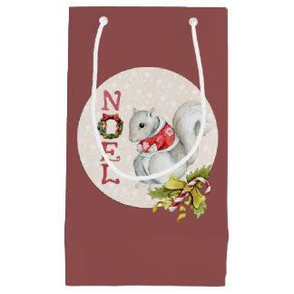 Sacola Para Presentes Pequena Esquilo festivo de Noel
