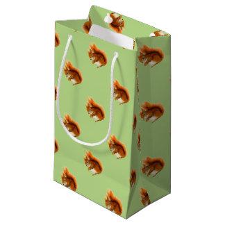 Sacola Para Presentes Pequena Esquilo vermelho pintado na arte dos animais