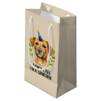 """Sacola Para Presentes Pequena """"Eu sou ilustração do cão do pitbull DE UM"""