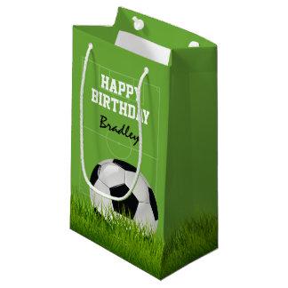 Sacola Para Presentes Pequena Feliz aniversario   do futebol do futebol dos