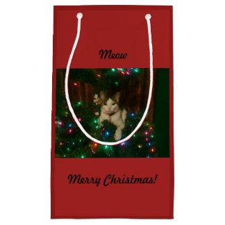 Sacola Para Presentes Pequena Feliz Natal do Meow