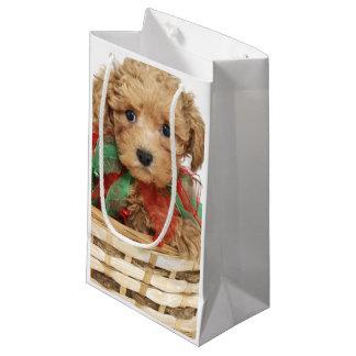 Sacola Para Presentes Pequena Filhote de cachorro da caniche que senta-se na