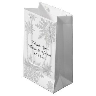 Sacola Para Presentes Pequena Flocos de neve brancos do inverno que Wedding o