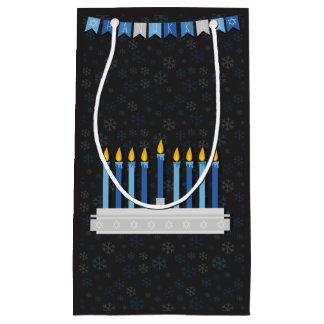 Sacola Para Presentes Pequena Flocos de neve de Hanukkah do quadro
