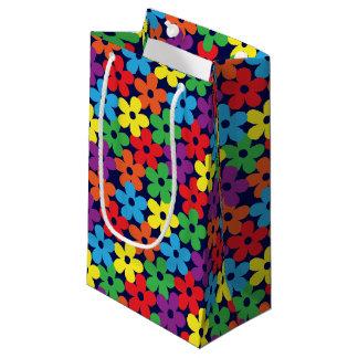 Sacola Para Presentes Pequena Flores coloridas no saco pequeno do presente dos