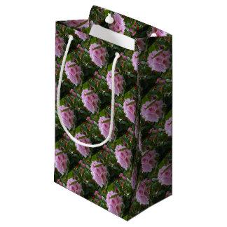 Sacola Para Presentes Pequena flores cor-de-rosa com orvalho