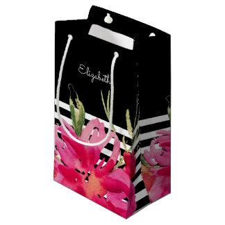 Sacola Para Presentes Pequena Flores do fúcsia do preto | que Wedding as bolsas