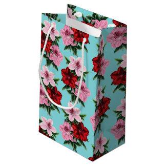 Sacola Para Presentes Pequena flores rosas vermelha na luz da cerceta