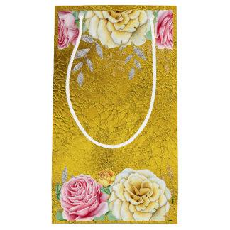 Sacola Para Presentes Pequena Folha de ouro com rosas do vintage