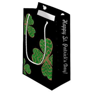 Sacola Para Presentes Pequena Folha verde afortunada do brilho - monograma feliz