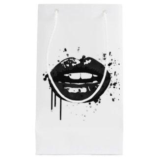 Sacola Para Presentes Pequena Forma preto e branco do beijo da composição da