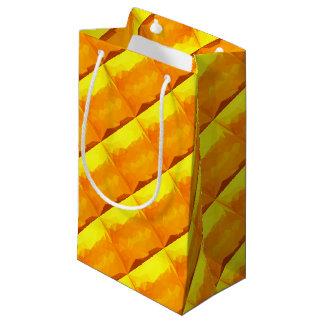 Sacola Para Presentes Pequena Fundo do polígono do abstrato do amarelo do Cyber
