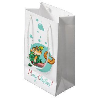 Sacola Para Presentes Pequena Gato da sereia do Natal