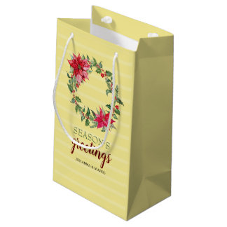 Sacola Para Presentes Pequena Grinalda da poinsétia personalizada