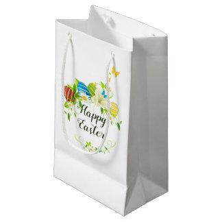 Sacola Para Presentes Pequena Grinalda das flores e das borboletas do primavera