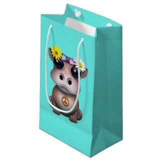 Sacola Para Presentes Pequena Hippie bonito do hipopótamo do bebê