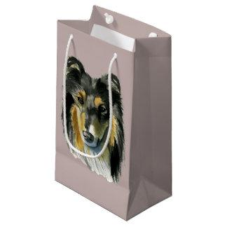 Sacola Para Presentes Pequena Ilustração da aguarela do cão do Collie