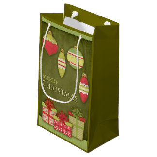 Sacola Para Presentes Pequena Ilustração da caixa de presente e do ornamento do