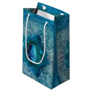 Sacola Para Presentes Pequena Imagem mineral do cristal da ágata da rocha azul