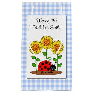Sacola Para Presentes Pequena Joaninha do feliz aniversario com o girassol