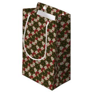 Sacola Para Presentes Pequena Kaleidoscopic verde vermelho da grinalda elegante