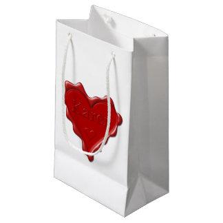 Sacola Para Presentes Pequena Karen. Selo vermelho da cera do coração com Karen