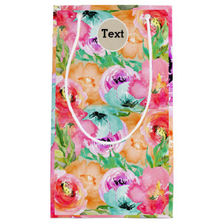 Sacola Para Presentes Pequena Kraft botânico rústico moderno floral colorido