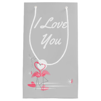 Sacola Para Presentes Pequena Lado do amor do flamingo eu te amo pequeno