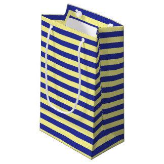 Sacola Para Presentes Pequena Listras brandamente amarelas e azuis