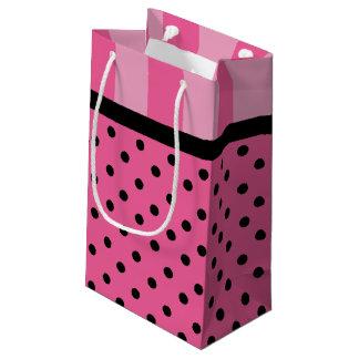 Sacola Para Presentes Pequena Listras do amor e as bolsas cor-de-rosa do