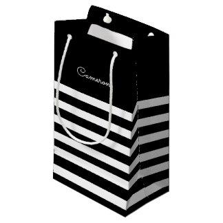 Sacola Para Presentes Pequena Listras do branco do preto | que Wedding as bolsas