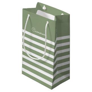 Sacola Para Presentes Pequena Listras do branco do verde | que Wedding as bolsas