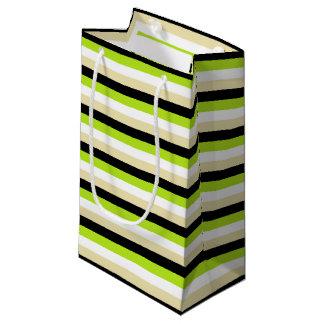 Sacola Para Presentes Pequena Listras do verde limão, do branco, as bege e as