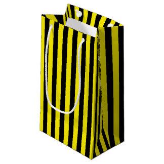 Sacola Para Presentes Pequena Listras pretas e amarelas verticais