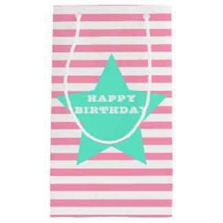 Sacola Para Presentes Pequena Listras & saco cor-de-rosa do presente de