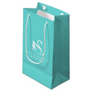 Sacola Para Presentes Pequena Logotipo azul da cisne do ovo do pisco de peito