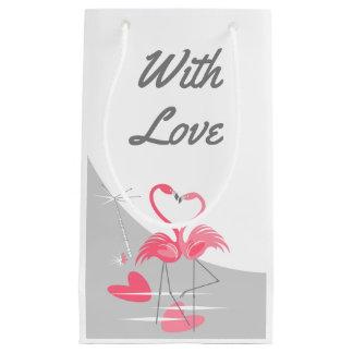 Sacola Para Presentes Pequena Lua do amor do flamingo grande com o amor pequeno