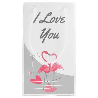 Sacola Para Presentes Pequena Lua do amor do flamingo grande eu te amo pequena