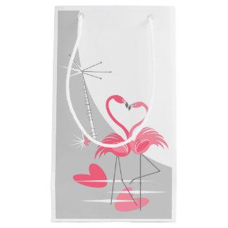 Sacola Para Presentes Pequena Lua do amor do flamingo grande pequena