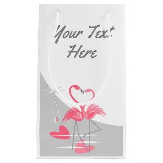 Sacola Para Presentes Pequena Lua do amor do flamingo grande seu texto pequeno