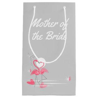 Sacola Para Presentes Pequena Mãe do lado do amor do flamingo da noiva pequena