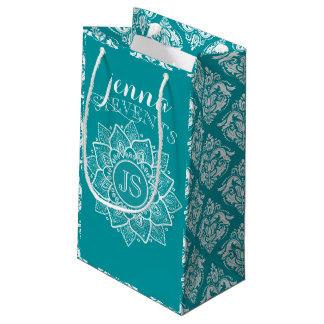 Sacola Para Presentes Pequena Mandala & damasco Turquesa-Azuis & brancos