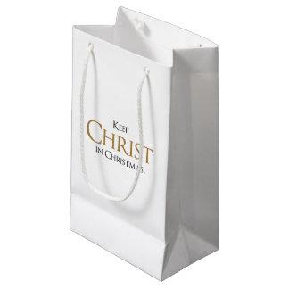 Sacola Para Presentes Pequena Mantenha o cristo no saco do presente de