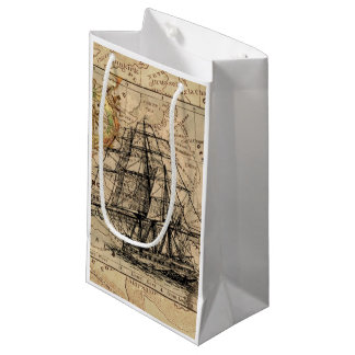 Sacola Para Presentes Pequena Mapa e navio do vintage