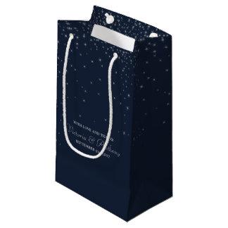 Sacola Para Presentes Pequena Marinho elegante & estrelas de queda de prata que