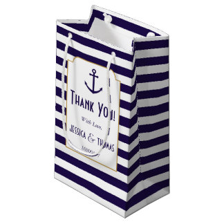 Sacola Para Presentes Pequena Marinho náutico & casamento branco da âncora da