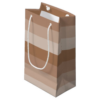 Sacola Para Presentes Pequena Máscaras de listras cremosas de Brown