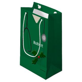 Sacola Para Presentes Pequena Médico esfrega o azevinho verde SGB